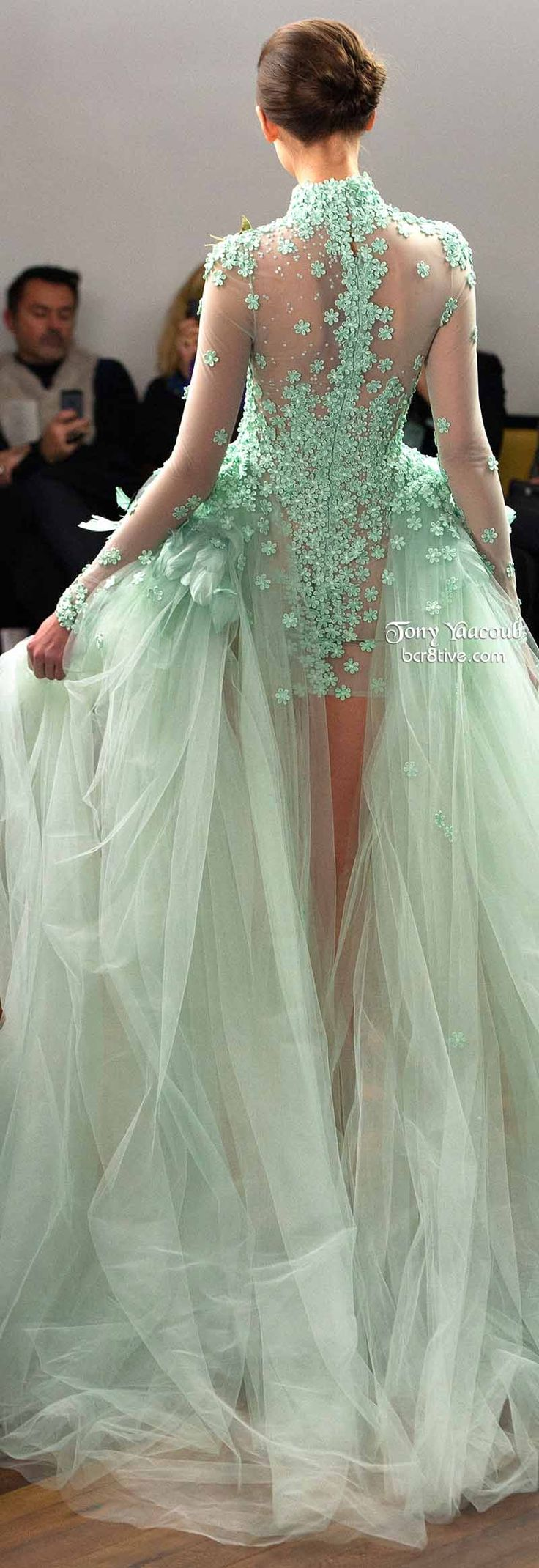 Tony Yaacoub Spring 2014 Couture Mint Green evening floral gown