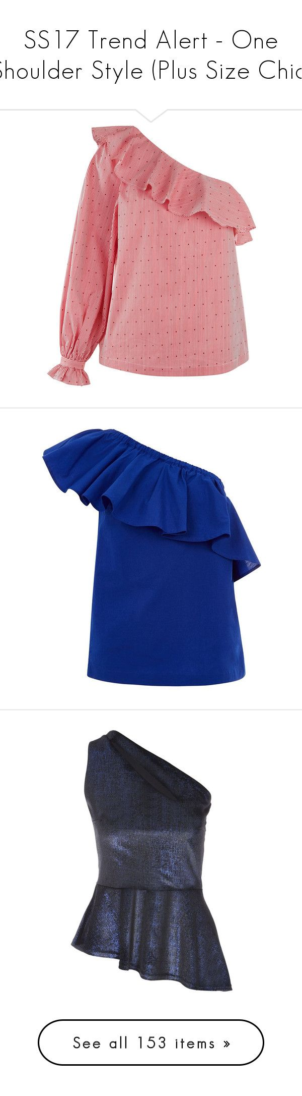 """""""SS17 Trend Alert - One Shoulder Style (Plus Size Chic)"""" by foolsuk ❤ liked on Polyvore featuring tops, sweaters, frill top, ruffle trim sweater, ruffled sweaters, house of fraser, blue ruffle top, blue, women and jane norman"""