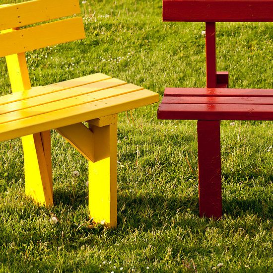 Colorful Benches at Simon Fraser University in Vancouver, Canada