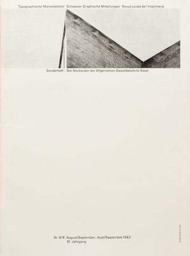 1962 Issue 8/9 Swiss magazine Typographische Monatsblätter. Cover Design: Emil Ruder - Typeface: Univers