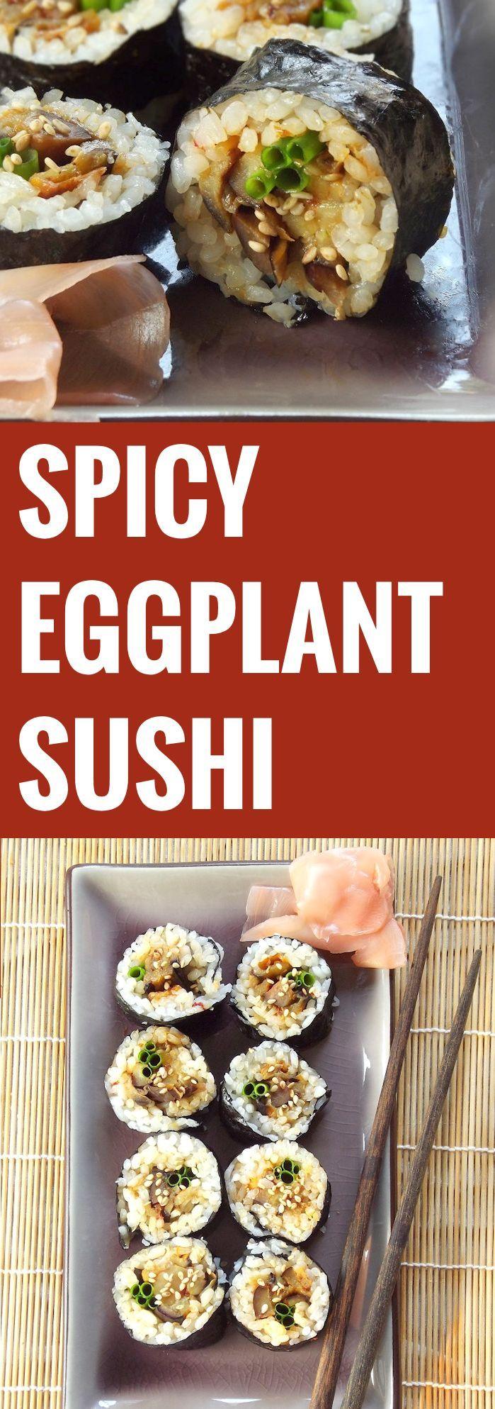 Spicy Eggplant Sushi