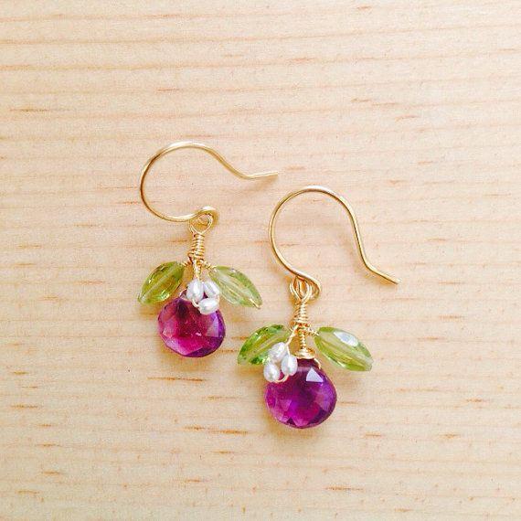 Mini Ohelo Fruit Earrings  Amethyst freshwater pearls by rhodaj, $40.00 #madeinhawaii #hawaii #bridal #wedding #weddingjewelry #bridesmaidjewelry #earrings #sets #bridalsets
