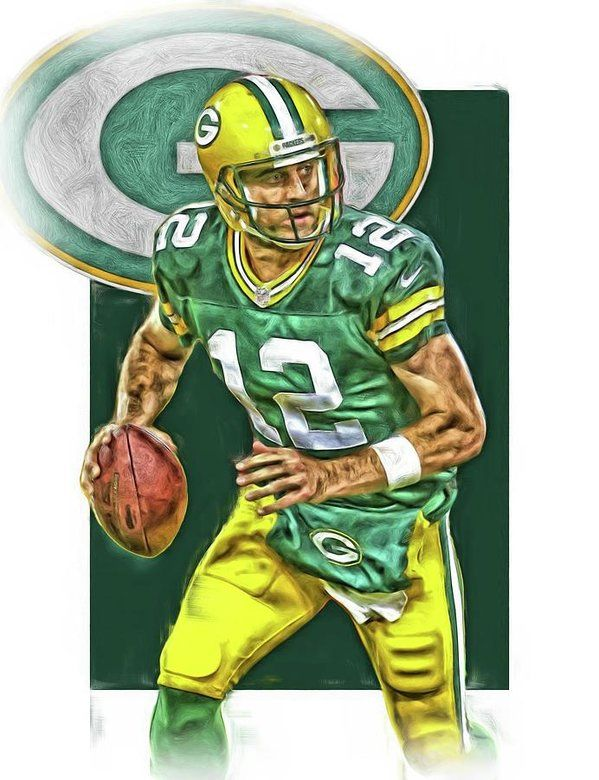 Aaron Rodgers Print featuring the mixed media Aaron Rodgers Green Bay Packers Oil Art 2 by Joe Hamilton