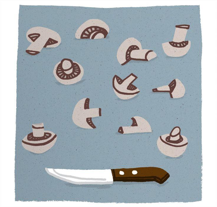 Knife & mushrooms
