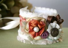 Fabric Flower Cuff Bracelet with Vintage Buttons and Lace