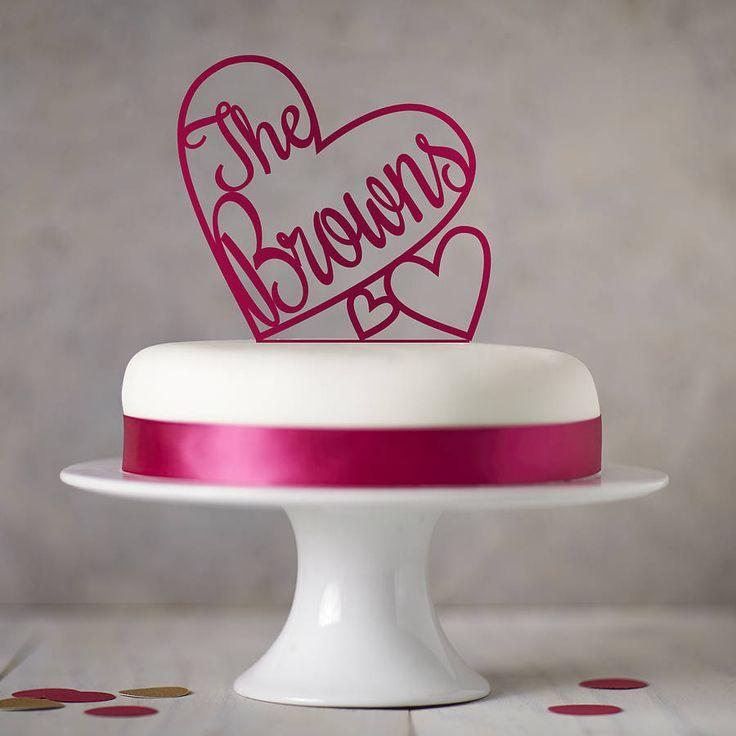 personalised heart wedding cake topper by sophia victoria joy | notonthehighstreet.com