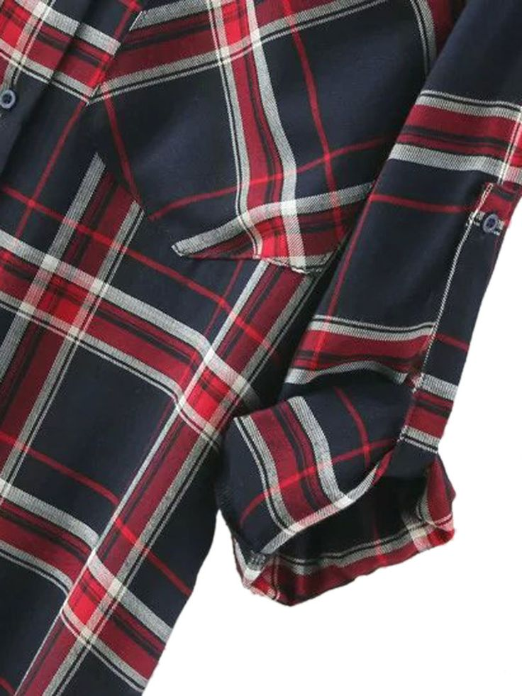 Shop Navy Plaid Pocket Detail Roll-up Sleeve Side Split Shirt from choies.com .Free shipping Worldwide.$23.99