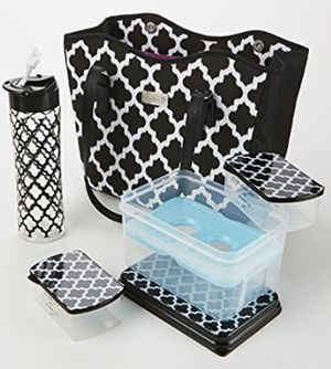Perth Designer Lunch Bag Matching Set - Black & White Ikat Tile.