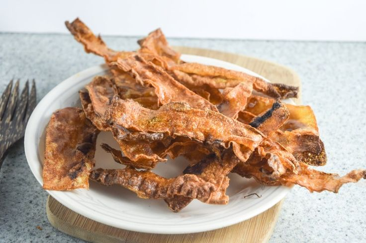 "Vegan Rice Paper Bacon   yupitsvegan.com. This amazing crispy, smoky, savory vegan ""bacon"" is made from rice paper! Gluten-free recipe."