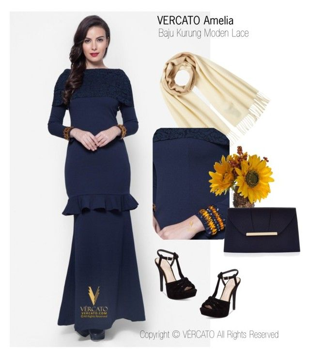 """Baju Kurung Lace Terkini 2016"" by vercato on Polyvore featuring Baju Kurung Moden Lace - Vercato Amelia in Navy Blue. SHOP NOW: www.vercato.com"