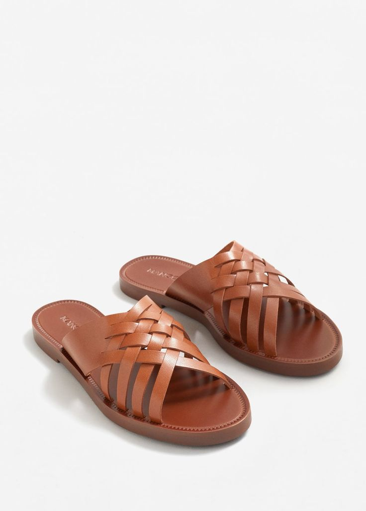 Leather braided sandal -  Woman | MANGO United Arab Emirates