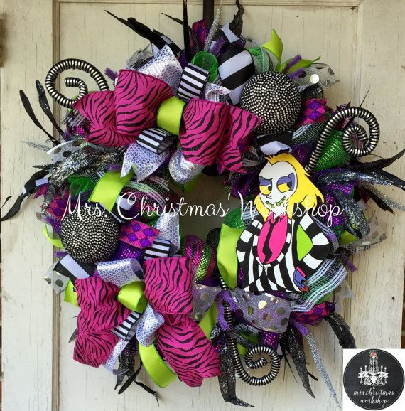 halloween wreath beetlejuice wreath deco mesh wreath fall wreath tim burton wreath halloween. Black Bedroom Furniture Sets. Home Design Ideas