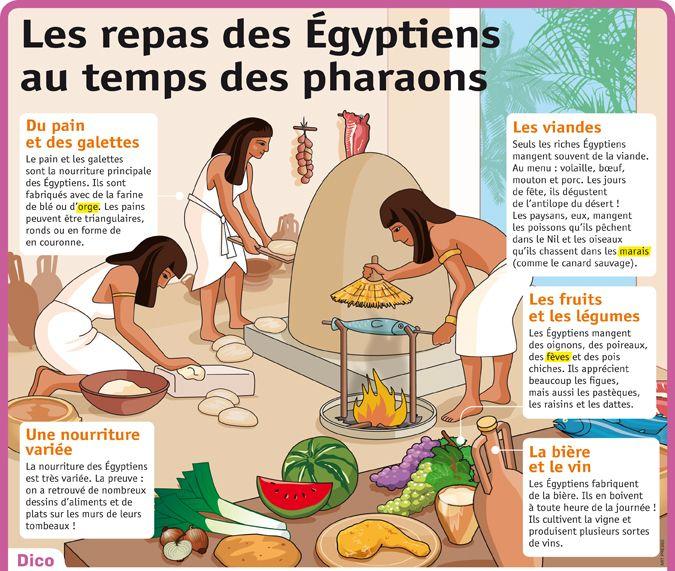 Fiche exposés : Les repas des Égyptiens au temps des pharaons