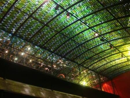 Recycled Wine Bottles At Buenos Aires Restaurant Ceiling Photo