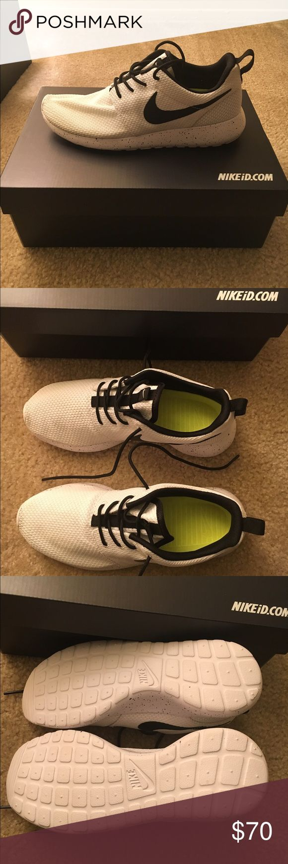 Nike Roshe One Brand new Nike ID Roshe One with box. All white with black accents and a black swoosh, featuring a white midsole with black speckles. Nike Shoes Athletic Shoes