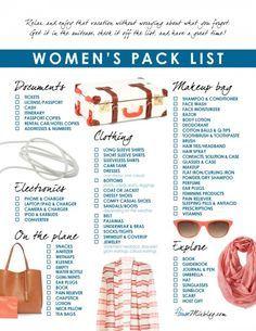 Women's travel pack checklist