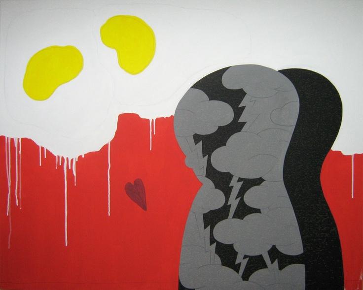 """andrea mattiello """"la solita frittata""""    acrilico e grafite; cm 100x80; 2011 #andreamattiello #mattiello #arte #art #contemporaryart #italianartist #artista #artistaemergente #acrilico #tela #tecnicamista #acrylic #canvas #collage"""