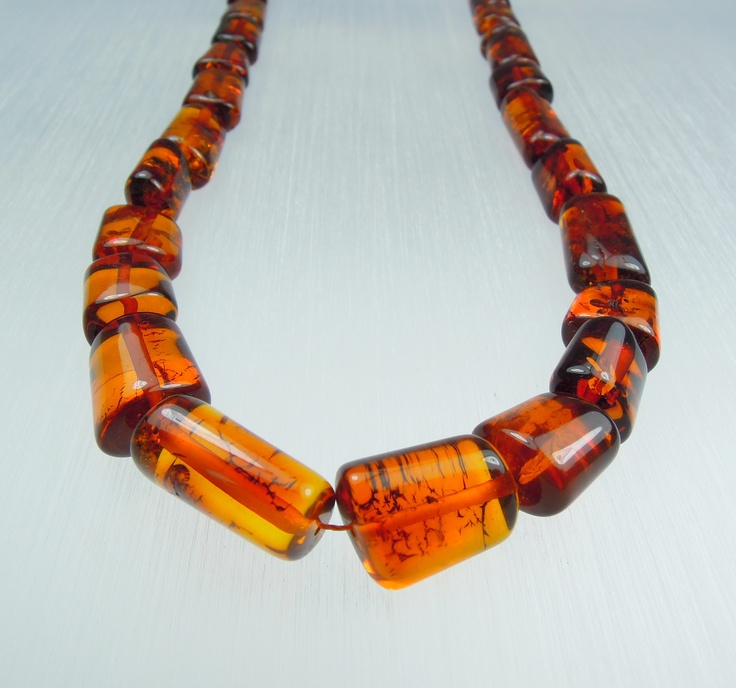 Amber necklace/cognac colour