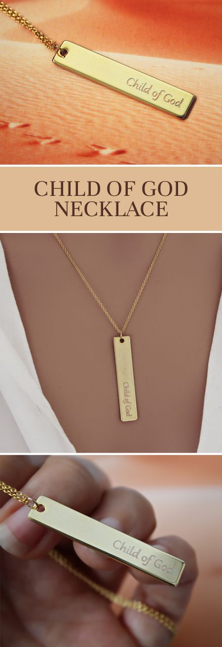 #religious #medal #pendant #jewelry #necklace #etsy #gold #plated #jewellery #16k #chain #bar #minimalist #geometric #engraved #child #of #god #catholic #christian #amen #gift #present #made #in #france #spiritual #wedding #birthday