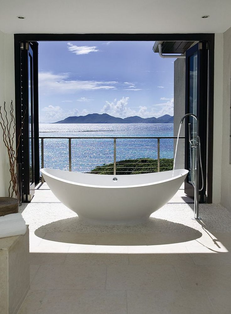 Sea view bathroom with cool contemporary-tropical style [Design: Lee H. Skolnick Architecture & Design Partnership]