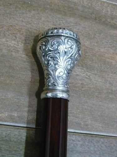 Bastone da passeggio in legno di ciliegio pomello in silver plated lavorato | eBay