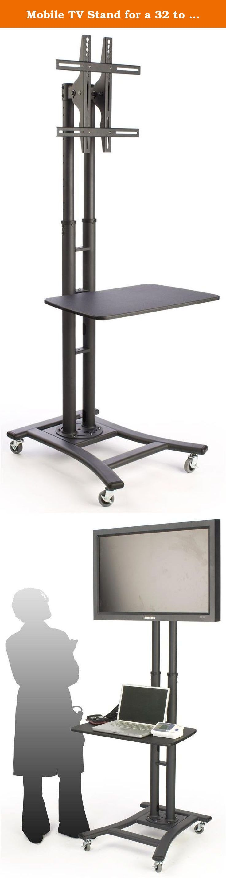 Mobile TV Stand for a 32 to 70 inch Flat Panel Monitor, 28-inch Shelf, Height-Adjustable and Tilting Bracket - Black. This mobile TV stand is adjustable in many different ways to accommodate the varying needs of a user. The floor-standing television display is designed to hold a 32 to 70-inch flat screen monitor, either in portrait or landscape orientation, weighing no more than 110 pounds. The mounting bracket includes removable extenders for accommodating both orientations in most...