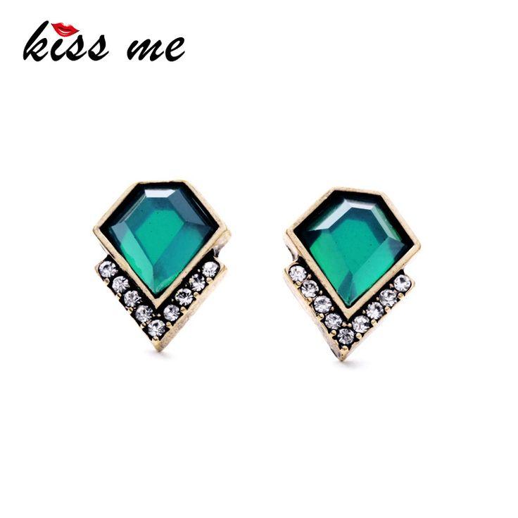 Ms Fashion Classic Imitation Emerald Geometric Crystal Stud Earrings,Like and Share if you agree!Get it here