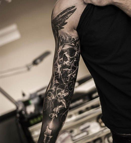 This dark imagery comes to you courtesy of Oscar Akermo.#inked #tattoo #skull…