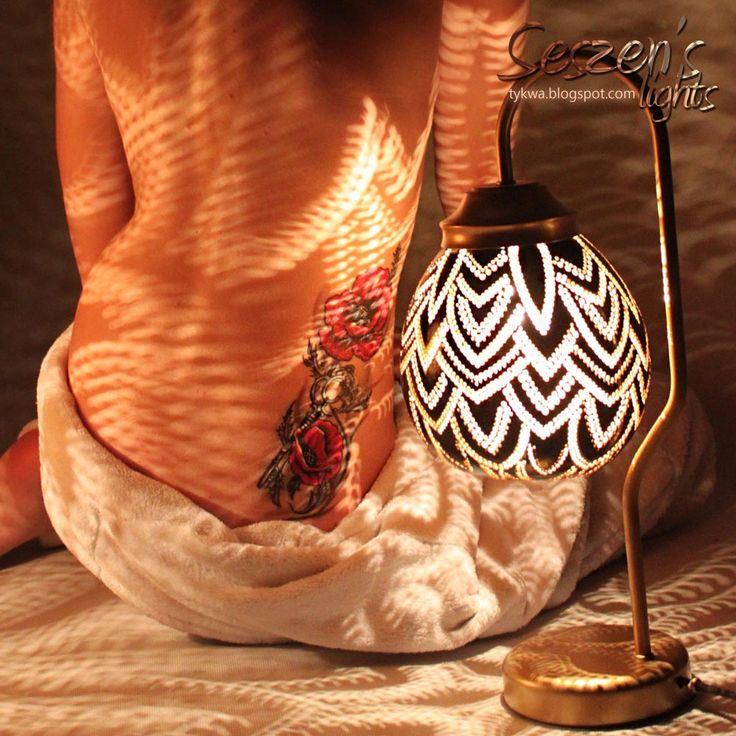 light, gourd, lamp, tattoo, poppy flower, body