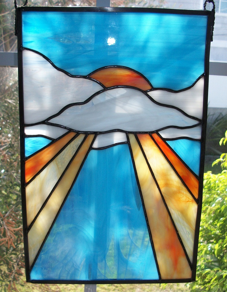 Stained Glass Sunrise Window. $20.00, via Etsy.
