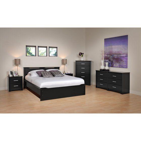 Prepac Yaletown 6 Drawer Black Dresser, Yaletown Black Queen 6 Drawer Platform Storage Bed