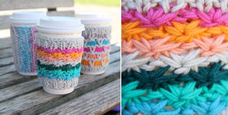 knitting: Idea, Cups Cozy, Knits Patterns, Yarns, Knits Coffee, Mornings Coff, Cups Holders, Coff Cups, Coff Cozy