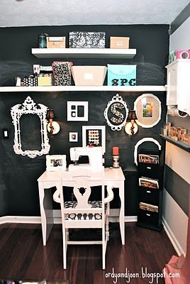 Oh my God. I have to have a chalkboard wall. Nay, I WILL have a chalkboard wall. Don't know where it would be tasteful but it's happening.  The Adventures of Ordy and Joon: Office Reveal!