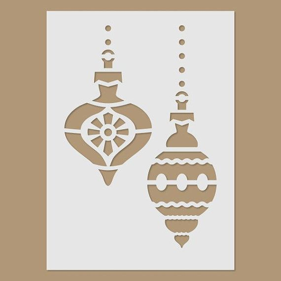 Christmas Tree Ornaments Stencil por StencilDirect en Etsy