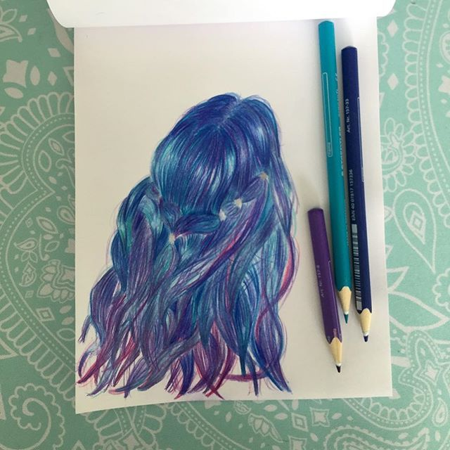 Blue turquoise purple kinda pink as well hair!!! Im liking this thing of #pencildrawing