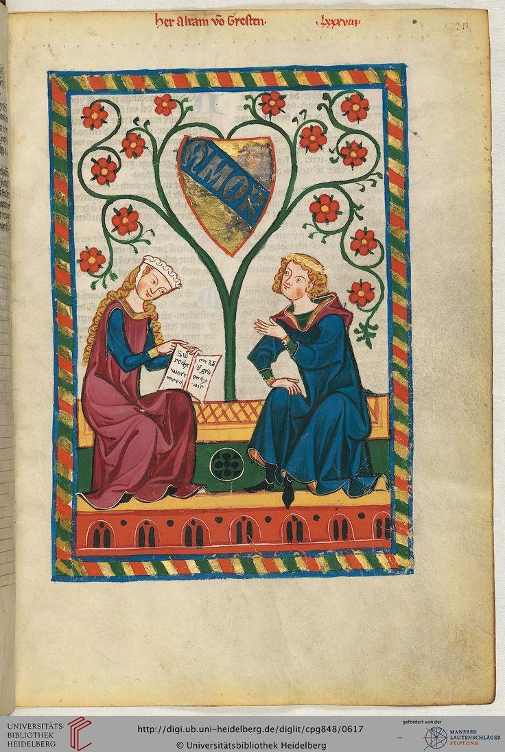 """Ein Alram oder Waltram von Gresten (in der Textvorschrift auf Blatt 311v wird er als """"Altram"""" bezeichnet"""") konnte urkundlich bislang nicht nachgewiesen werden. Möglicherweise war er Niederösterreicher und stammte aus dem Ort Gresten westlich von Neustift. Er könnte zu Beginn des 13. Jahrhunderts gedichtet haben, doch es muß offen bleiben, ob er überhaupt der Autor der im Codex Manesse überlieferten fünf Lieder ist, da diese alle in einer anderen Liederhandschrift unter einem jeweils anderen…"""