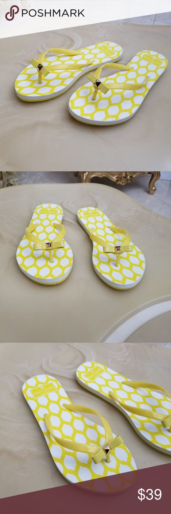 Kate Spade Eva Yellow Lemon Bow Flip Flops Kate Spade Eva Yellow Lemon Bow Flip Flops  Available in Women's Size: 6 ~ 7 ~ 8  ~ A Display model in Excellent Condition   ~No Box or Tags Attached ~   100% Authentic, Guaranteed!  Kate Spade Eva Yellow Lemon Bow Flip Flops kate spade Shoes Sandals