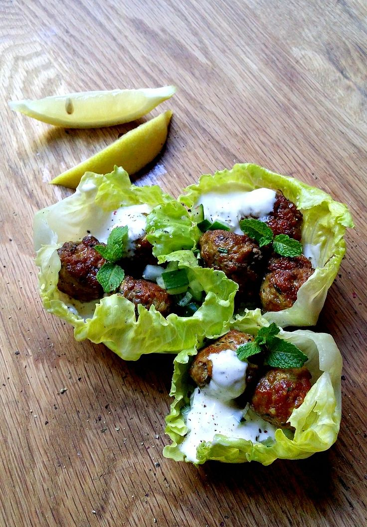 Low-Carb Lemon & Turmeric Meatballs in Lettuce Cups, with a Creamy Tahini Sauce #lowcarb #Banting