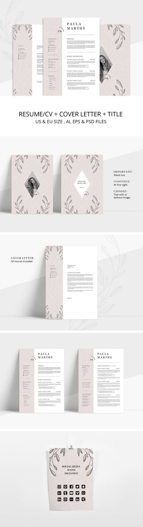 FLORAL Resume/CV + Cover Letter by AgataCreate on @creativemarket