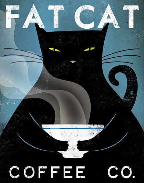 Cat Coffee by Ryan Fowler; a great item for the decor of the cool cat loving coffee connoisseur. Artist: Ryan Fowler Title: Cat Coffee (no city) Product type: Framed art print Style: Contemporary Form