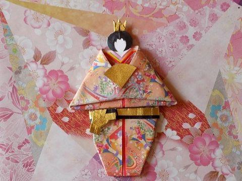 折り紙で雛祭り 立ち雛 女雛の折り方作り方  Origami Hina Doll - YouTube