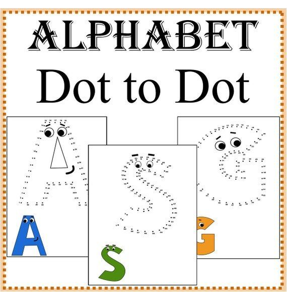 Alphabet Dot To Dot Coloring Pages Dot To Dot Worksheets Etsy Dot Worksheets Coloring Pages Dots