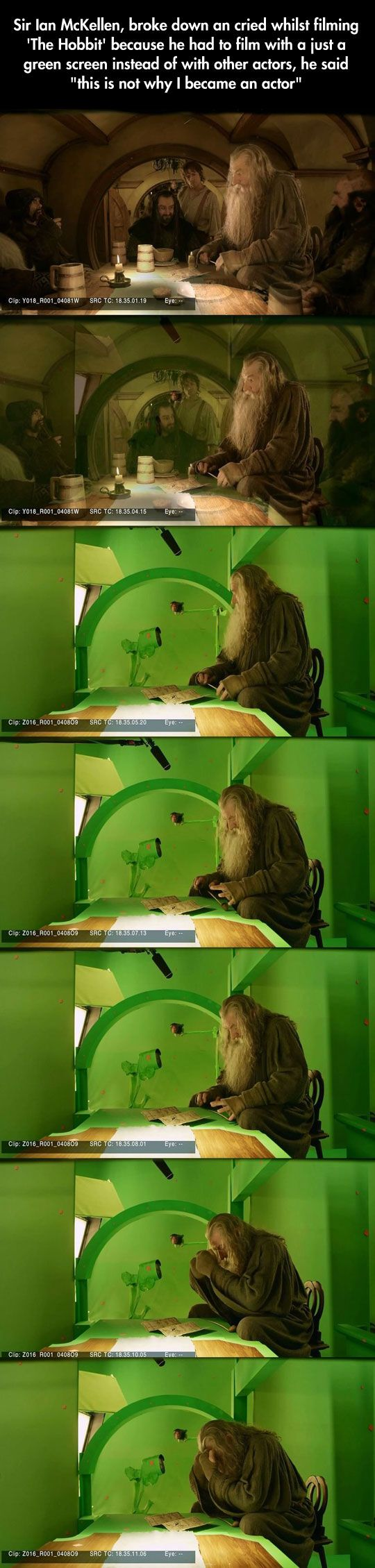 This is not why I became an actor. This is the opposite of his normal stage acting. And they didn't use any green screen like this in the LotR.
