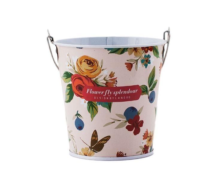 Bonvagon - Ev Aksesuarları - Metal Kova Pembe Çiçekli