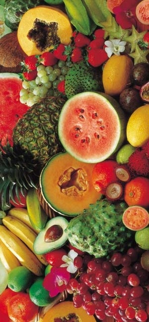Variety, colorful, texture, juicy, bright, tropical. This is not a recipe, I just really liked this picture!