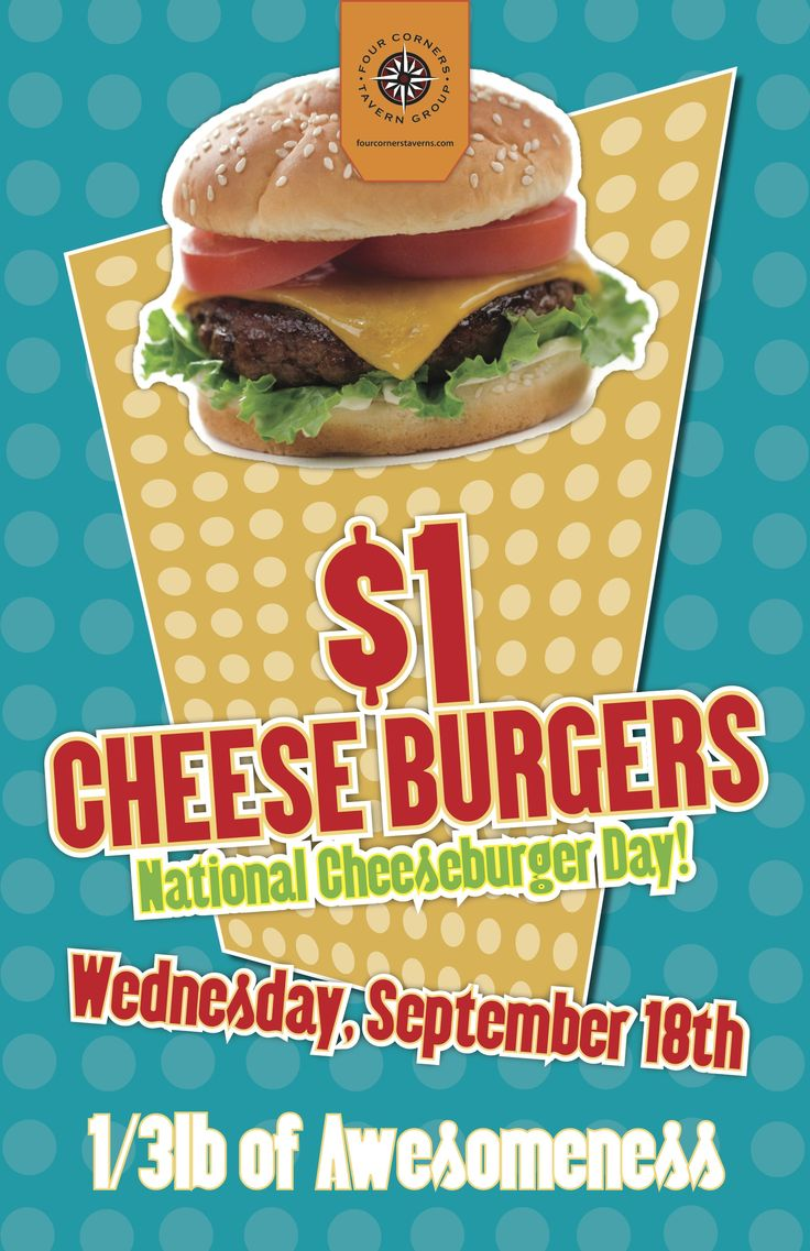 National Cheeseburger day Wednesday September 18th!