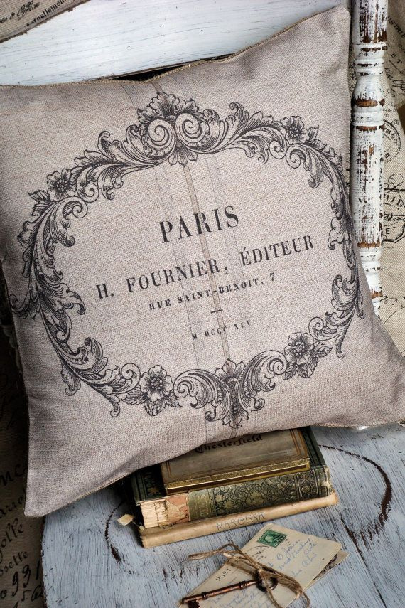 Pillow Cover French Label Shabby Chic by JolieMarche on Etsy, $35.00