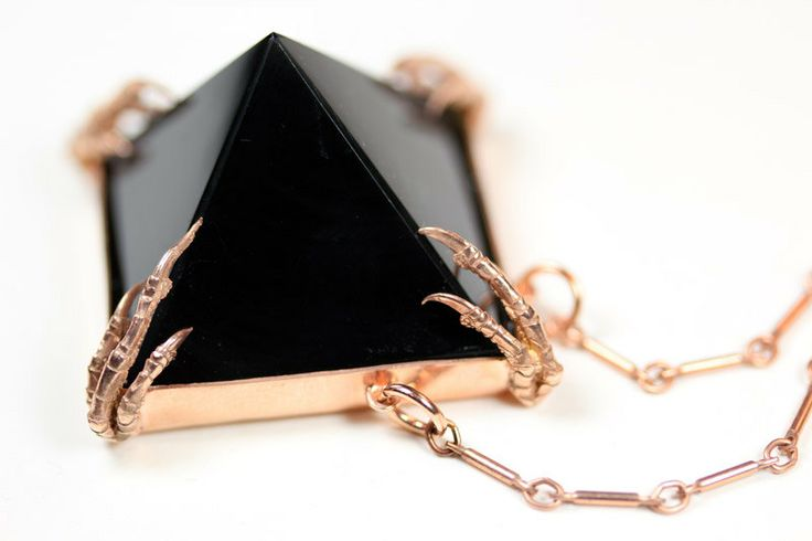 the obsidian tomb necklace rose gold vermeil by BloodMilk on Etsy. $280.00 USD, via Etsy.