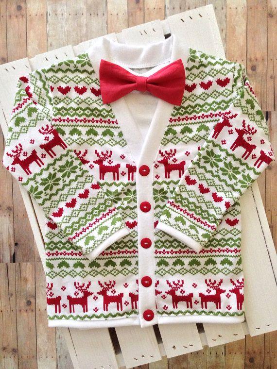 Christmasholiday Baby Preppy Cardigan Bow Tie Set Red Reindeer