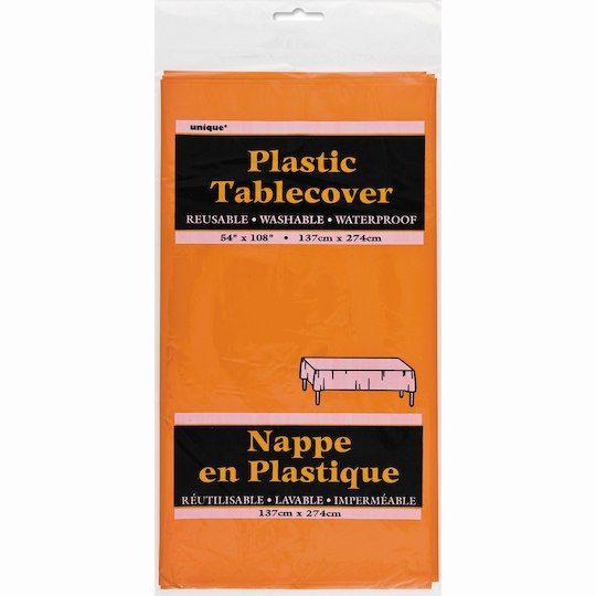 """Unique Plastic Orange Tablecloth, 108"""" x 54"""""""